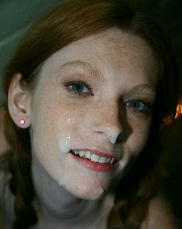 Redhead teen facial compilation