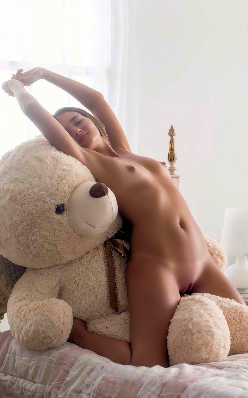 Teddy bear pink socks