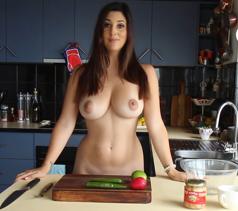 Girl Cooking In Naked Apron