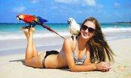 PictureA girl enjoying the beach