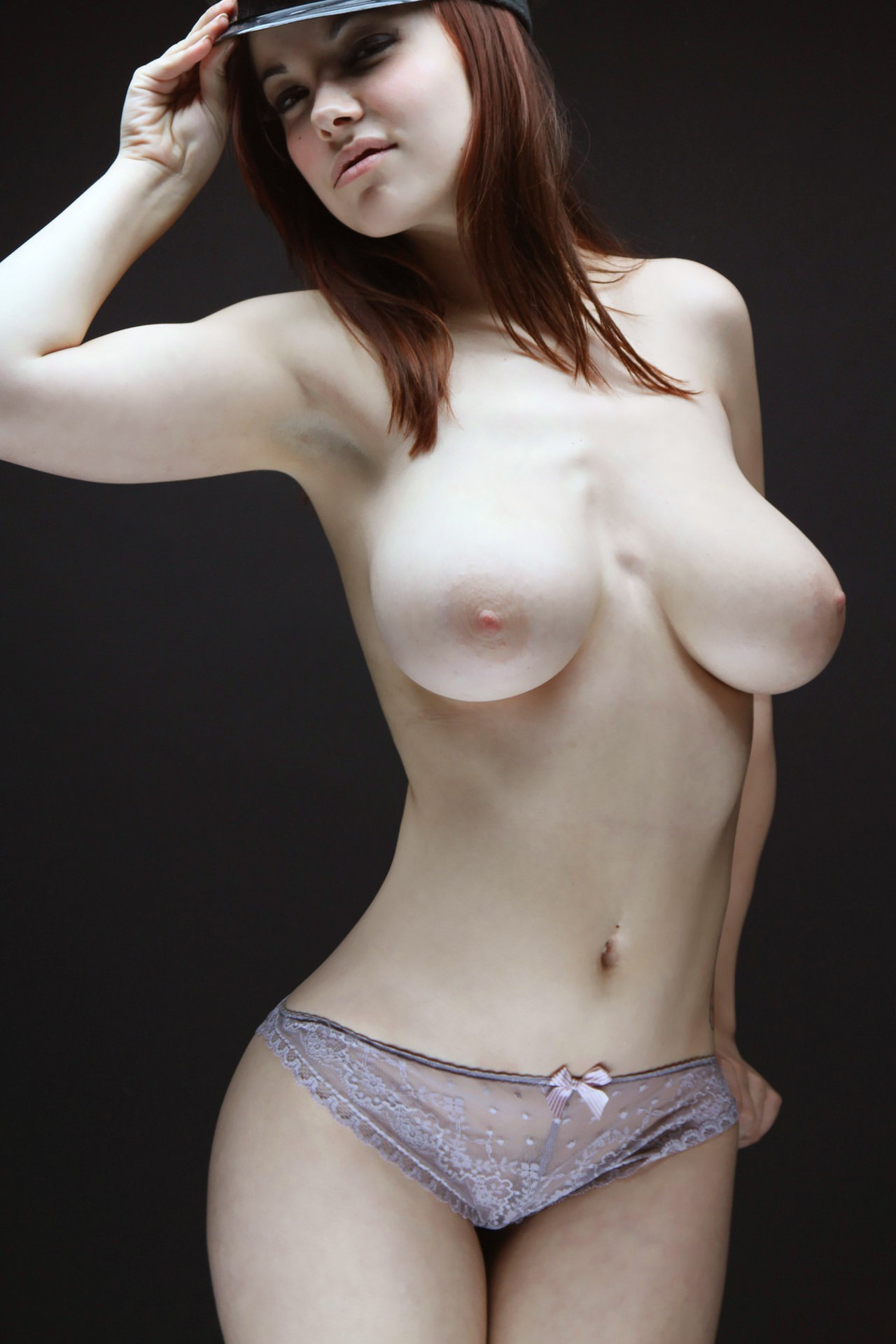 Pale skin big tits brunette