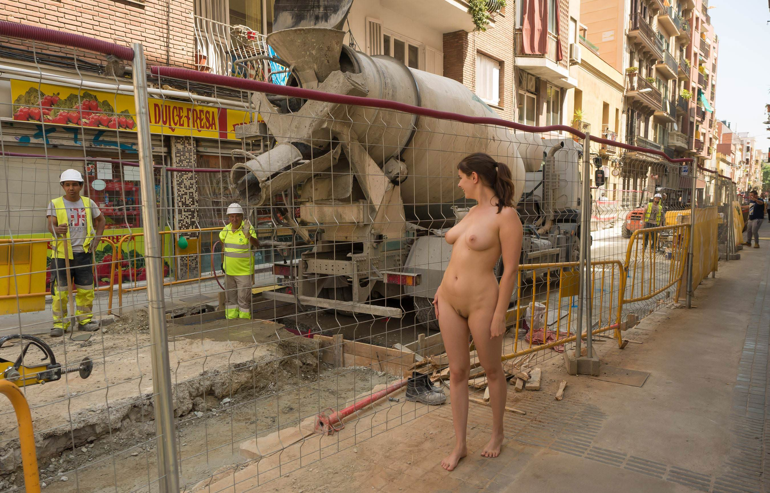 Naked blonde on a construction site russian sexy girls