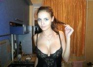 Boobies in a kitchen