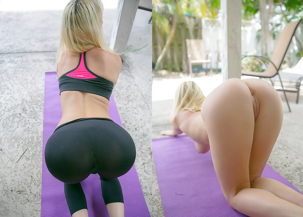 Hot lady wearing tight yoga arkivphotomateriale