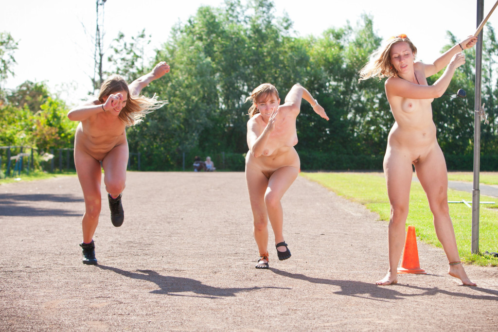 Women running naked