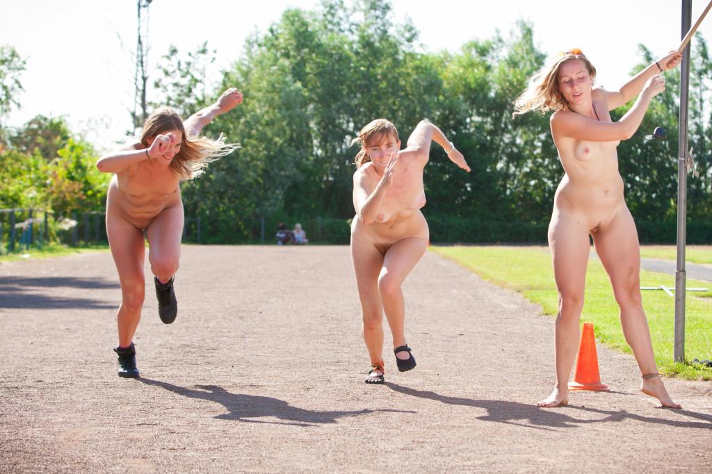 Lesbians running track nude