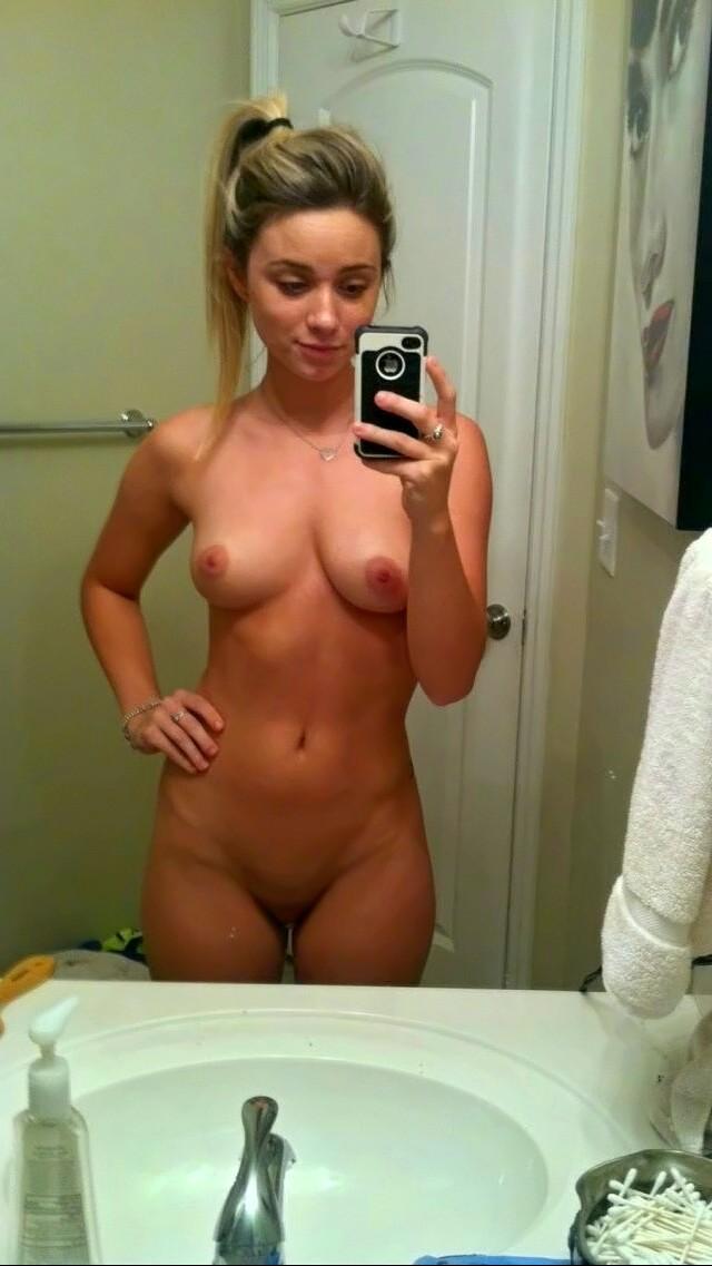 Blonde bathroom mirror self nude pic