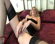 Slutty Blonde Solo On Bed