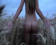 Naked Blonde In The Field